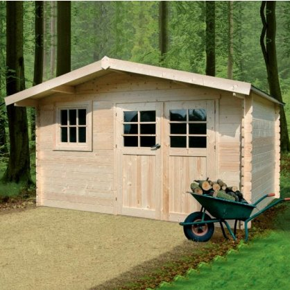 Abri de jardin en bois 34 mm LINZ - 388 x 388 cm - 15,05 m²