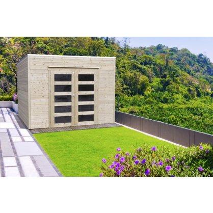 Abri de jardin en bois traité BARI 19 mm – 8,69 m² avec toit plat