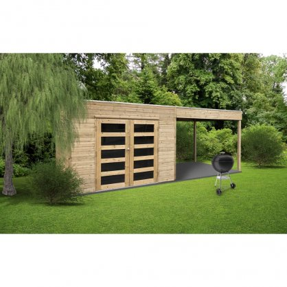 Abri de jardin traité SALERNO 2998 + 2939x1998 mm - toit plat