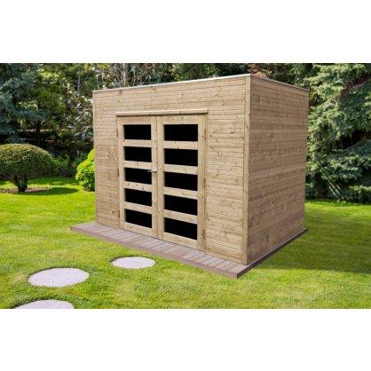 Abri jardin autoclave 5,94 m² CAPRI - toit plat
