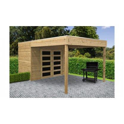 Abri jardin bois traité POTENZA 2970 + 2988x1998 mm - toit plat