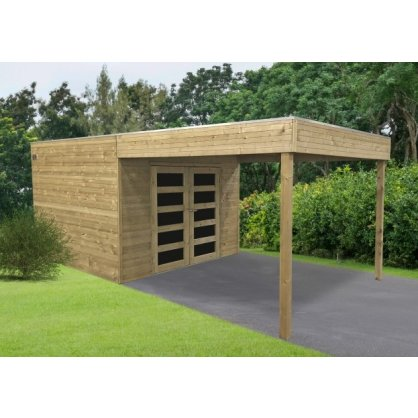 Abri jardin traité avec pergola MATERA 2988 x 2908 + 2870 mm
