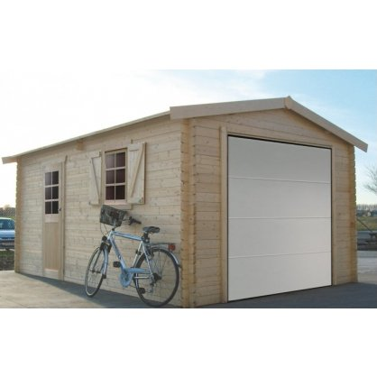 Garage bois 40 mm 19,26 m² porte motorisée 358x538 cm
