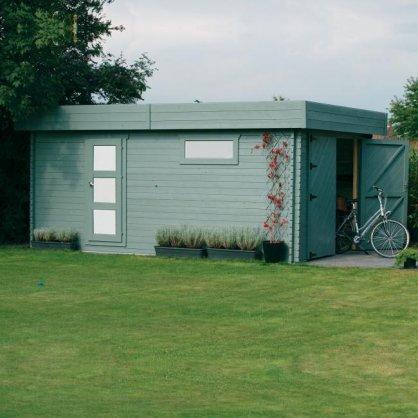 Garage bois 40 mm Modern 19,26 m² 358x538 cm