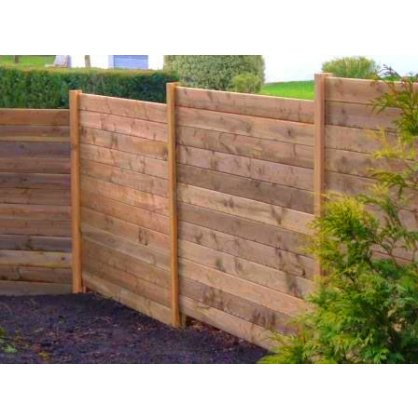 Kit 10 ml clôture en bois teinté marron Haut. 1,80 m