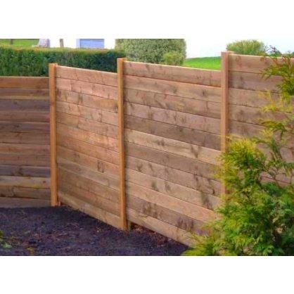 Kit 4 ml clôture en bois teinté marron Hauteur 1,80 m