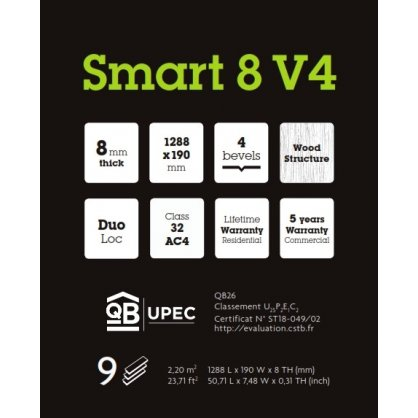Stratifié Smart 8 V4 Crush Dark Brown 62001182