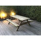 Table de pique-nique en bois autoclave 180 x 160 x 74 cm