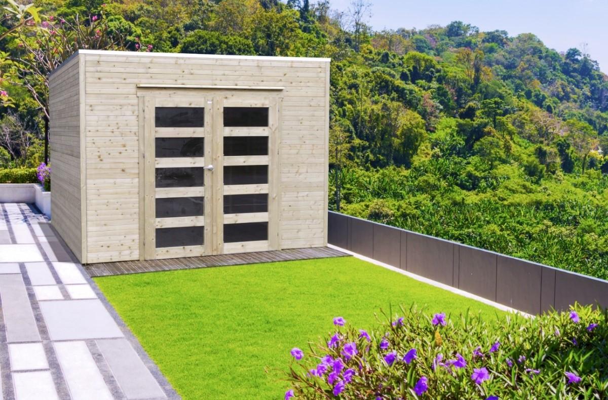 Abri de jardin en bois traité BARI 19 mm – 8,69 m² avec toit ...