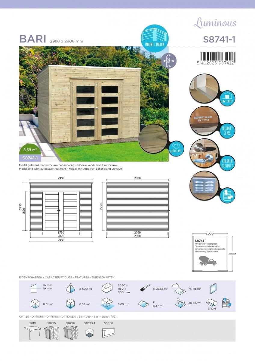Abri de jardin en bois traité BARI 19 mm – 8,69 m² avec toit plat ...