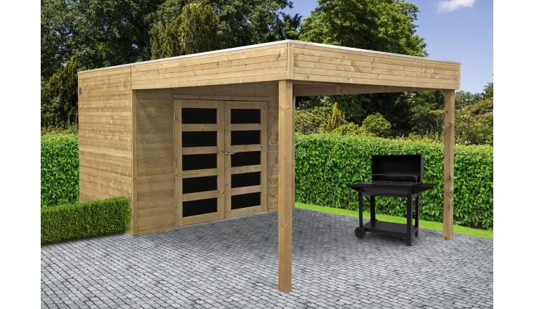 Abri jardin bois traité POTENZA 2970 + 2988x1998 mm - toit ...