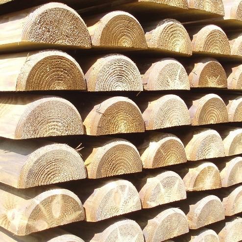 Demi rondins autoclave piquets bois trait s classe 4 - Rondin bois autoclave ...
