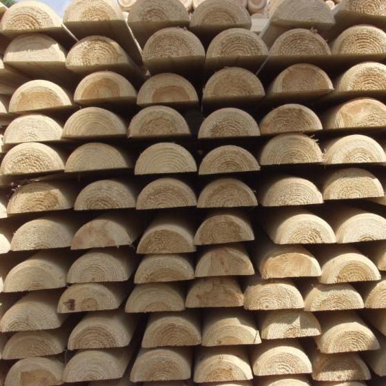 Piquets bois demi rondin 10x250 cm en bois autoclave - Rondin bois autoclave ...