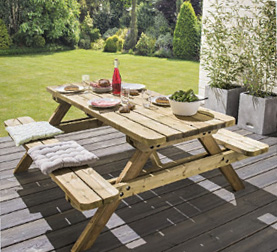 Mobilier de jardin - Table de jardin en bois autoclave 1,80 m